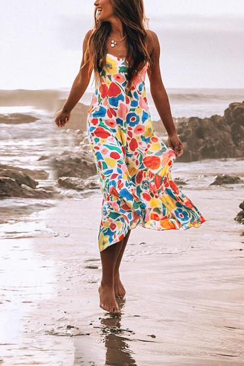 Chicindress Floral Printed Summer Backless Mid Calf Dress With Pocket