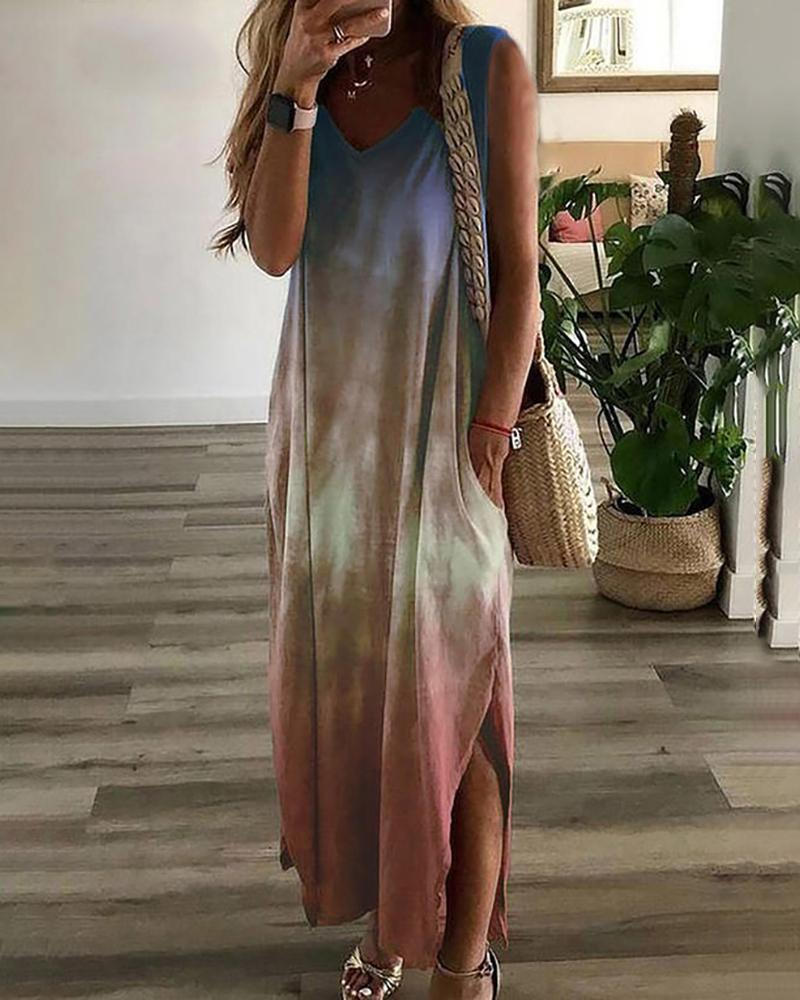 Chicindress Tie Dye Print V-neck Casual Dress