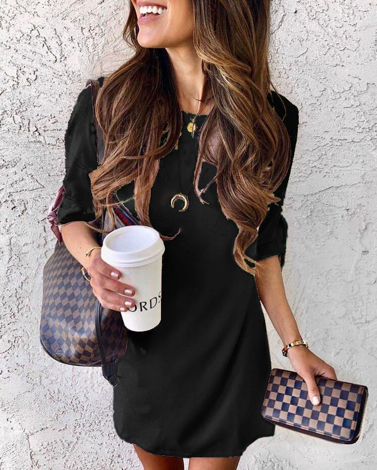 Chicindress Half Sleeve Early Autumn Shirt Dress