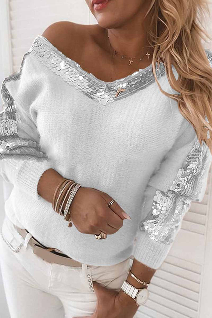 Chicindress Solid Color V-Neck Sequined Long Sleeves Tops