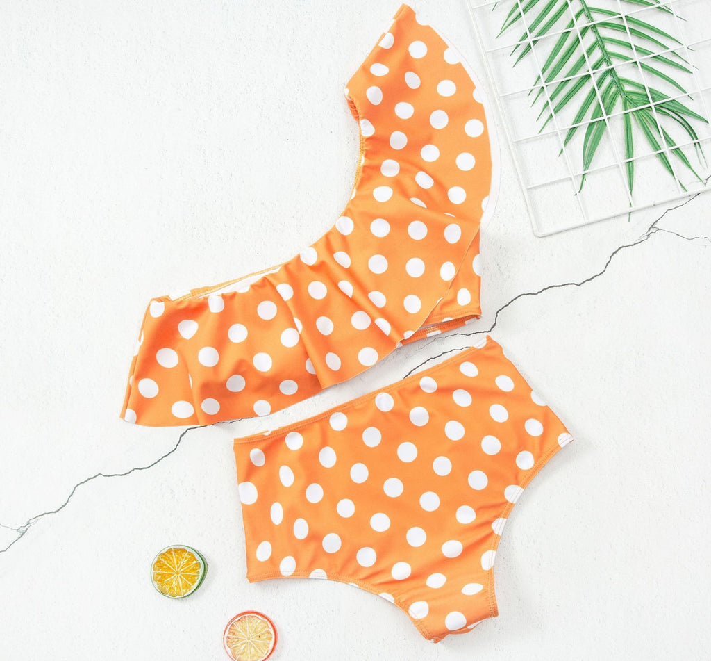 Chicindress Two-Piece Ruffled High-Waisted Polka-Dot Swimsuit