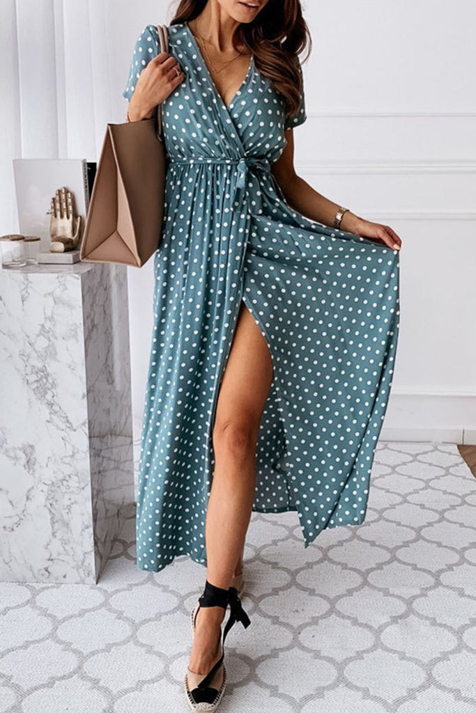 Fashion Sexy Dot Slit V Neck Printed Dresses