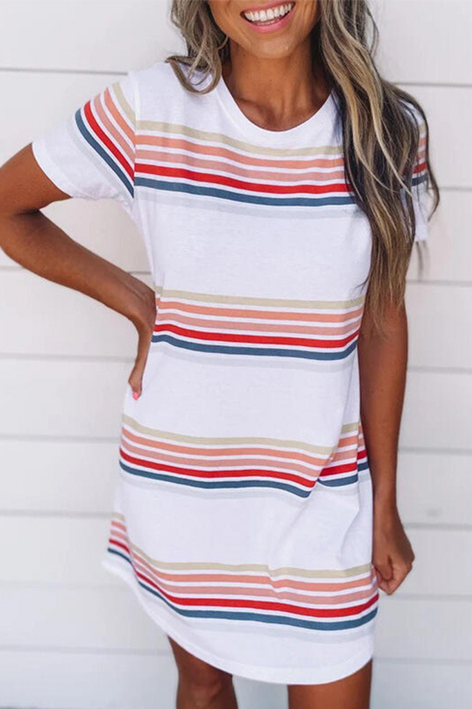 Casual Striped Character Print Contrast O Neck Short Sleeve Dress Dresses