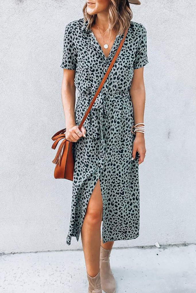 Casual Elegant Print Bandage Slit With Belt POLO collar A Line Maxi Dresses