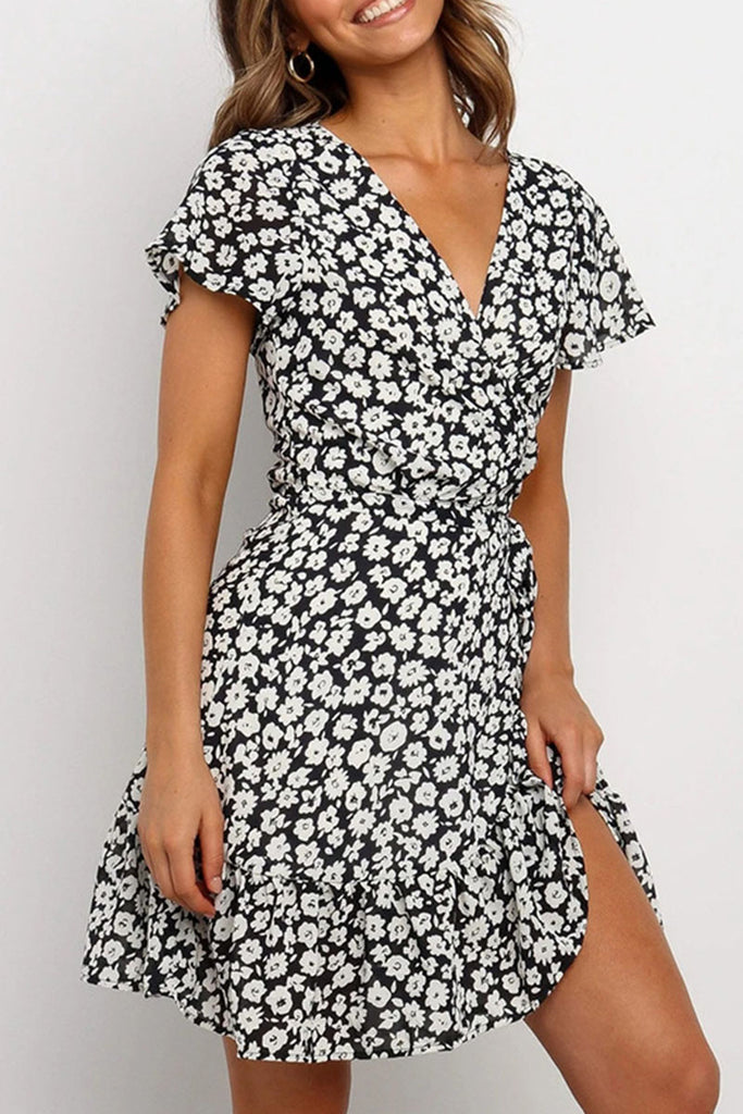 Fashion Casual Print Split Joint V Neck A Line Dresses