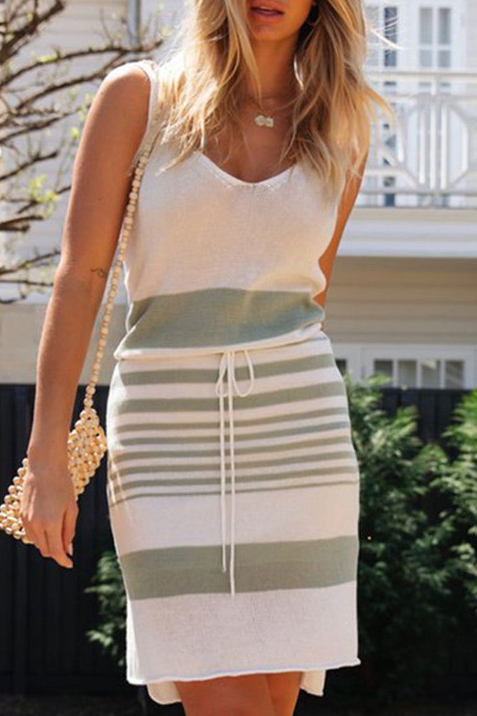 Fashion Striped Split Joint V Neck Irregular Mini Dresses