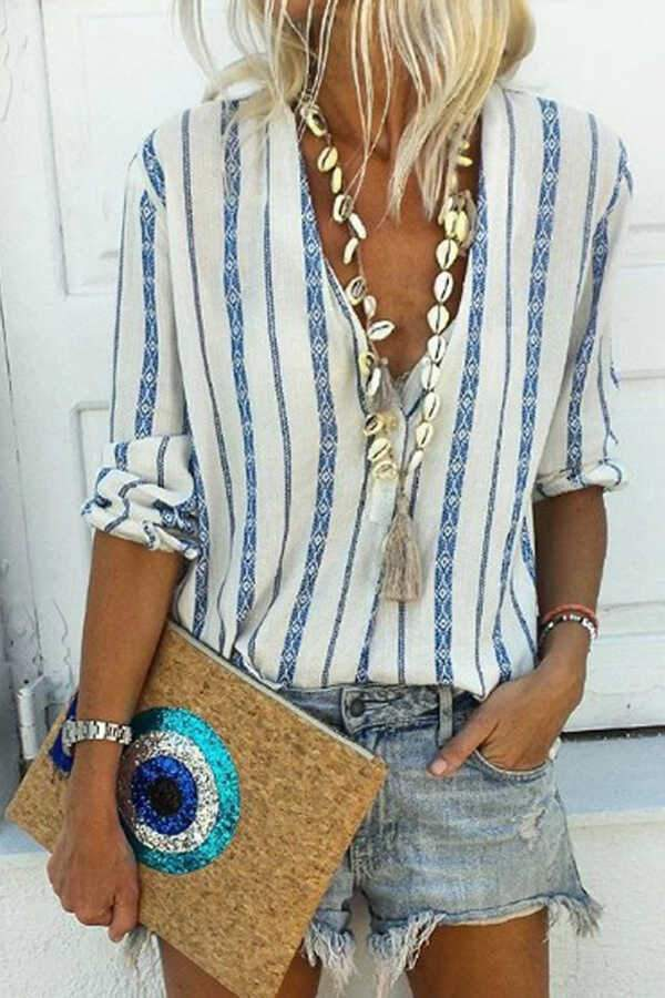 Casual Striped Split Joint V Neck Tops