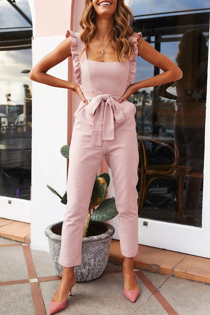 Fashion Street Solid Split Joint Square Collar Straight Jumpsuits
