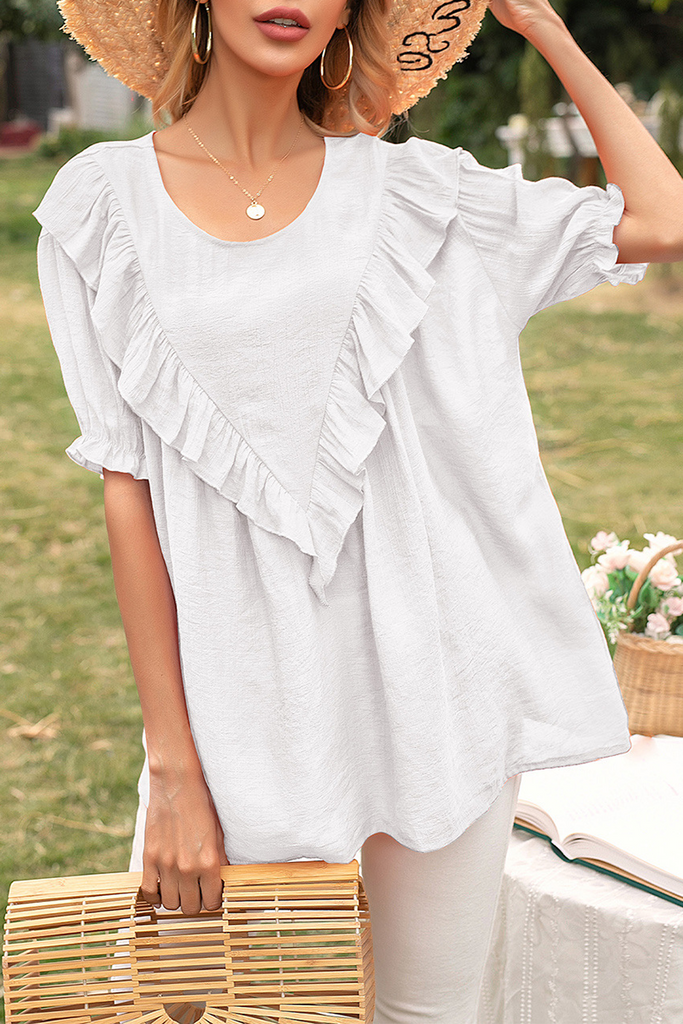 Elegant Solid Split Joint Flounce O Neck T-Shirts