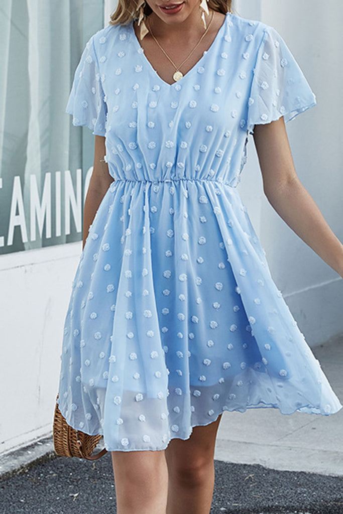 Fashion Sweet Solid Split Joint V Neck A Line Dresses
