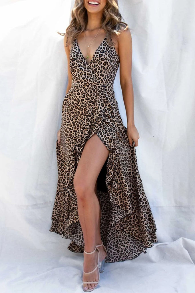 Fashion Street Leopard Split Joint V Neck Irregular Dresses