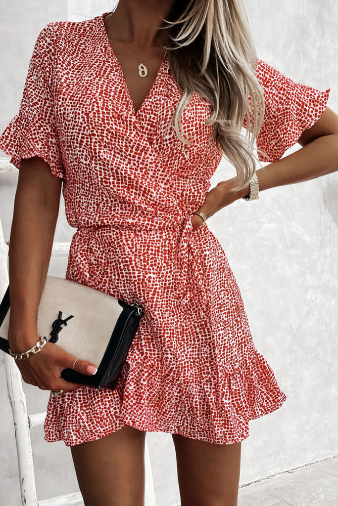 Fashion Sweet Print Split Joint V Neck A Line Dresses