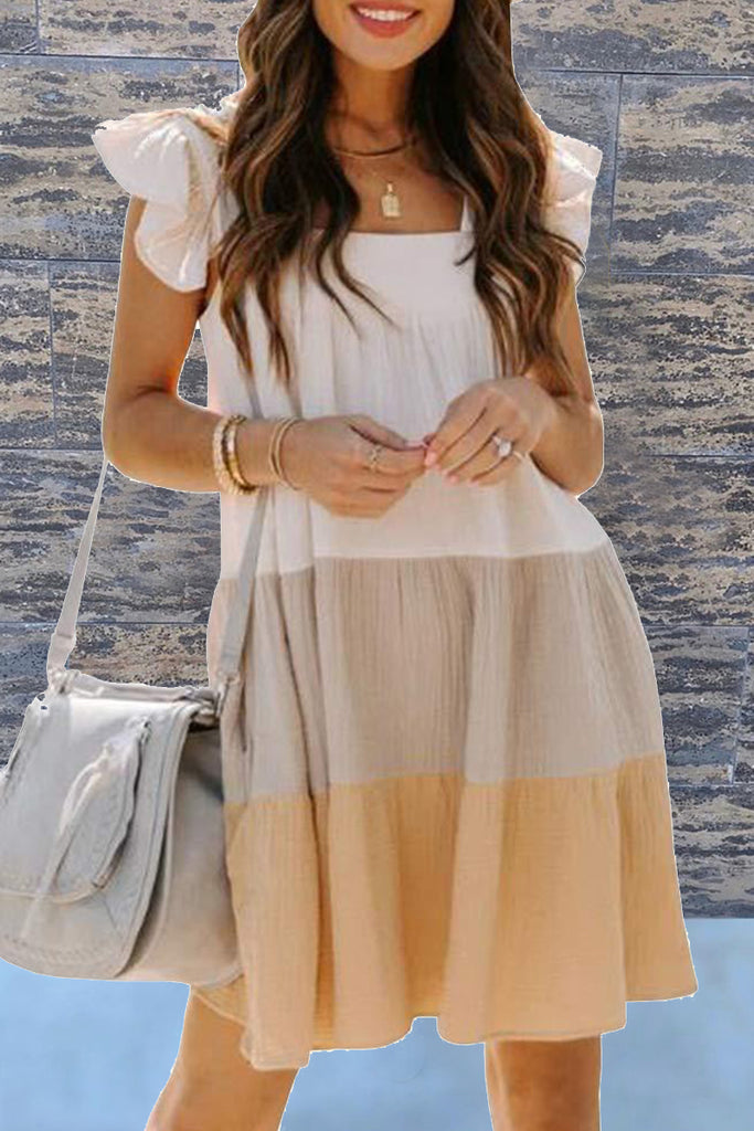 Fashion Casual Solid Split Joint Square Collar Cake Skirt Dresses
