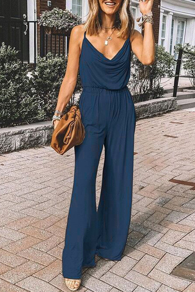 Fashion Street Solid Split Joint Spaghetti Strap Loose Jumpsuits