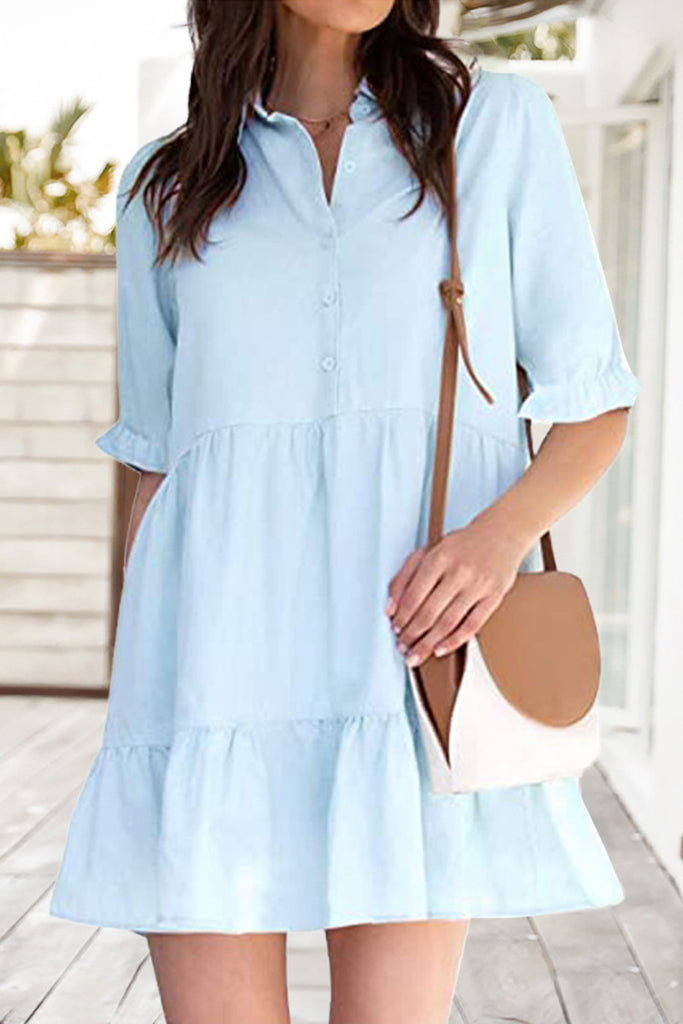 Fashion Casual Solid Split Joint Turndown Collar A Line Dresses