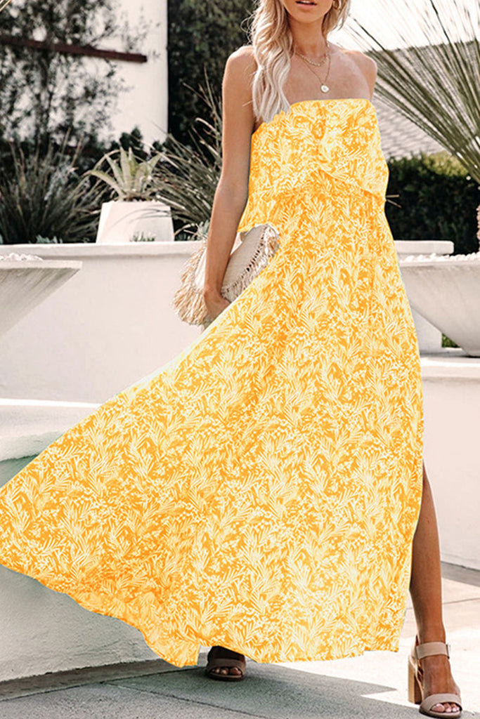 Fashion Elegant Print Split Joint Strapless A Line Dresses