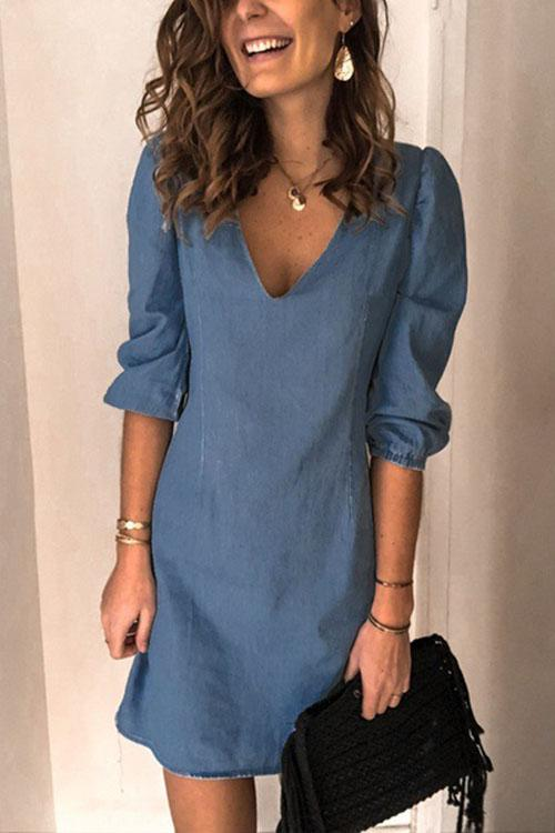 Chicindress Casual V Neck Elastic Cuff Sleeve Mini Dress