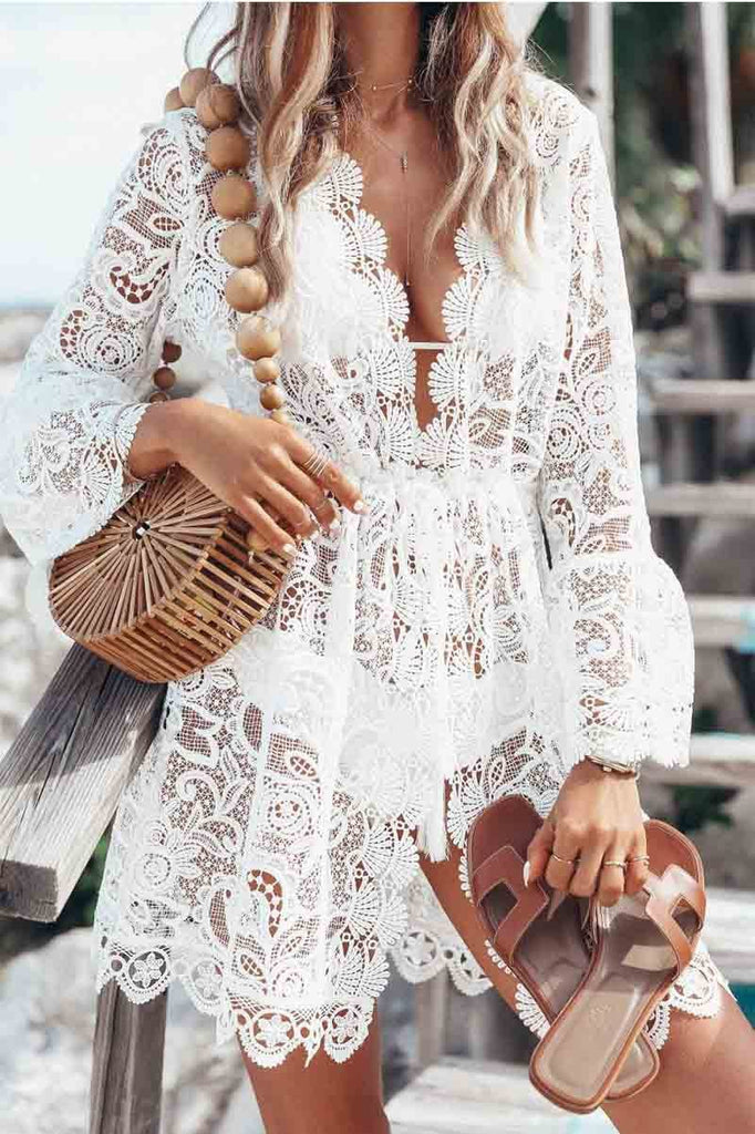 Chicindress Sexy Lace Long-sleeved V-neck Swimwear Cover-up