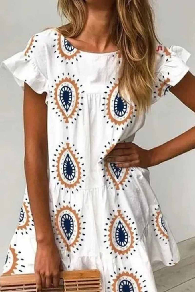 Chicindress Round Neck Print Water Drop Mini Dress
