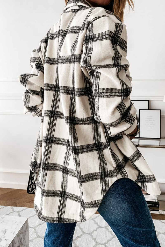 Chicindress Loose Retro Plaid Coat