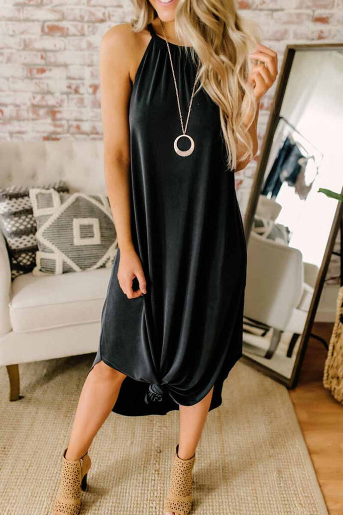 Chicindress Loose Sexy Solid Color Sling Midi Dress