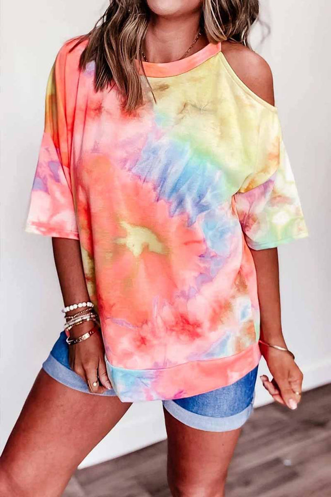 Chicindress Off-shoulder Tie-dye V-neck T-shirt