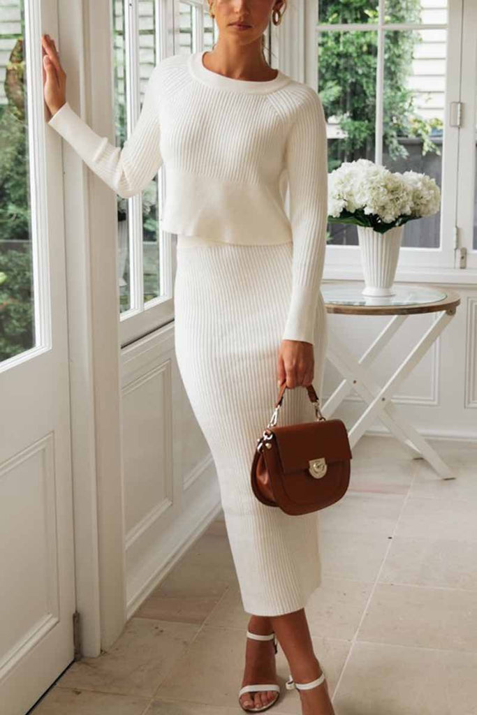 Chicindress Knitted Solid Color Sweater Skirt Suit