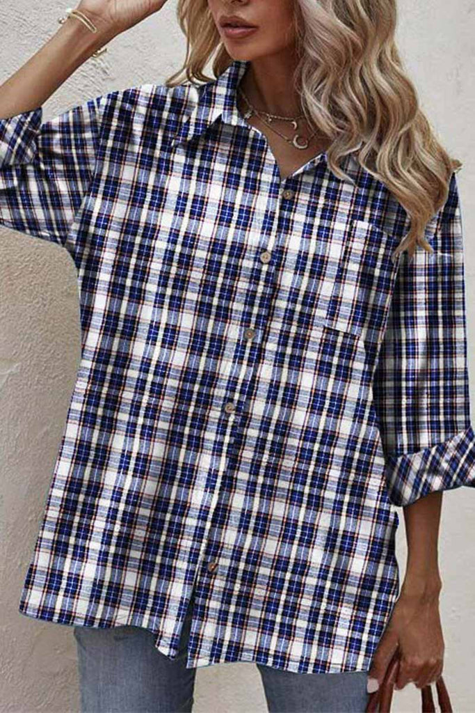 Chicindress Black And White Checkered Shirt With Joints Tops