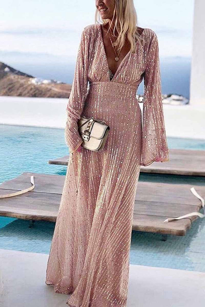 Chicindress V-Neck Long Sleeve Sequined Gown Maxi Dress