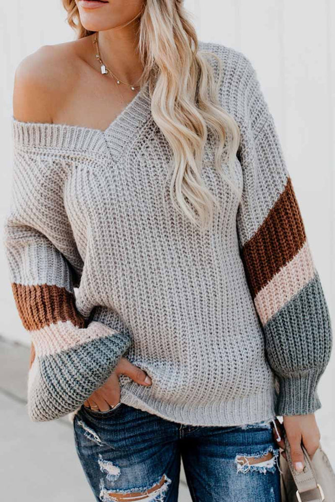 Chicindress V-Neck Lantern Sleeve Striped Color-Block Sweater