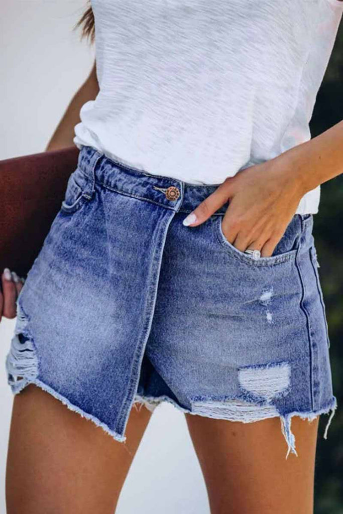 Chicindress Ripped & Repaired Denim Shorts