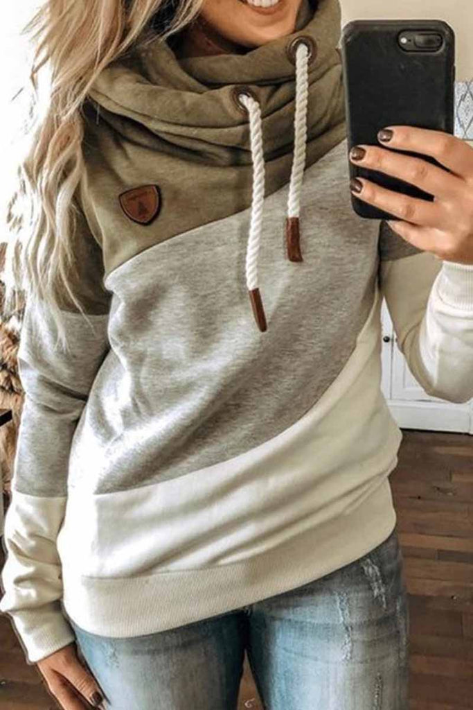 Chicindress Hooded Loose Splicing Top