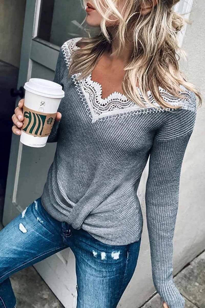 Chicindress Stylish Lace Patchwork Grey Sweater (3 Colors)
