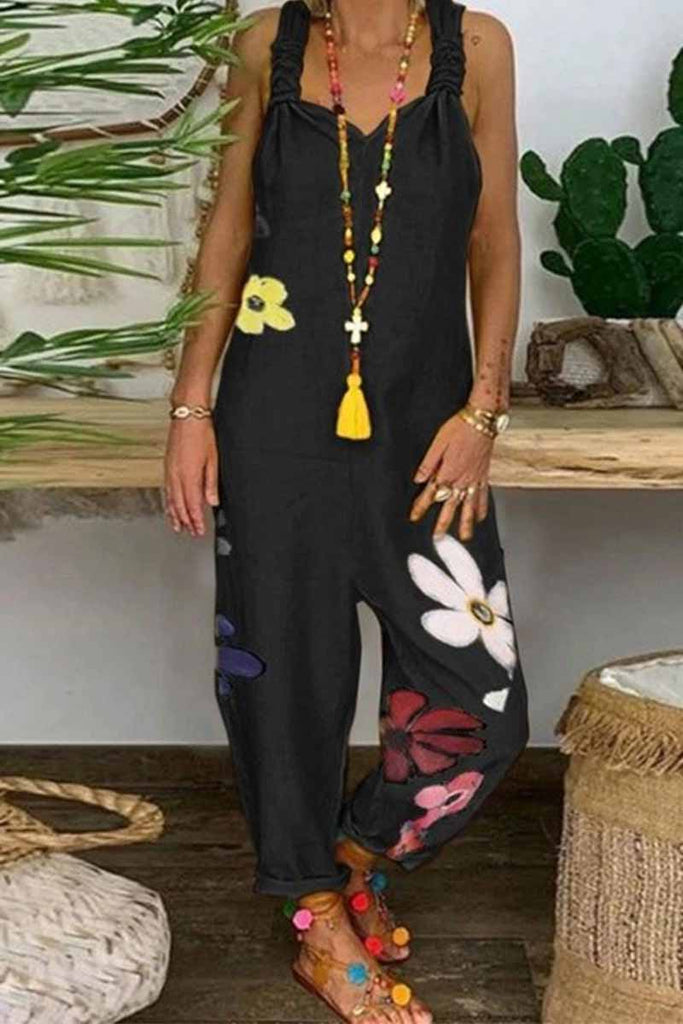 Chicindress Black Print sleeveless jumpsuit