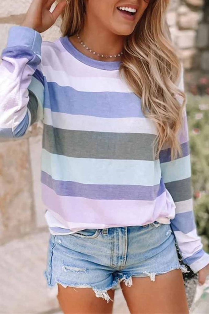 Chicindress Striped Long Sleeve Printed Crew Neck Tops
