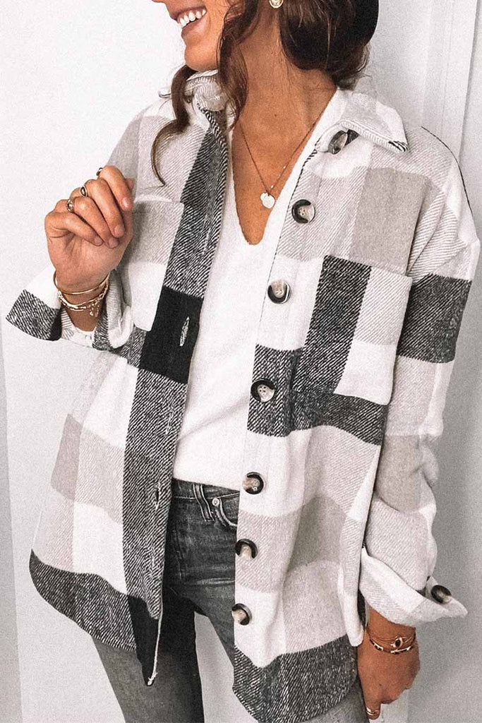 Chicindress Fashion Lapel Loose Plaid Jacket Tops