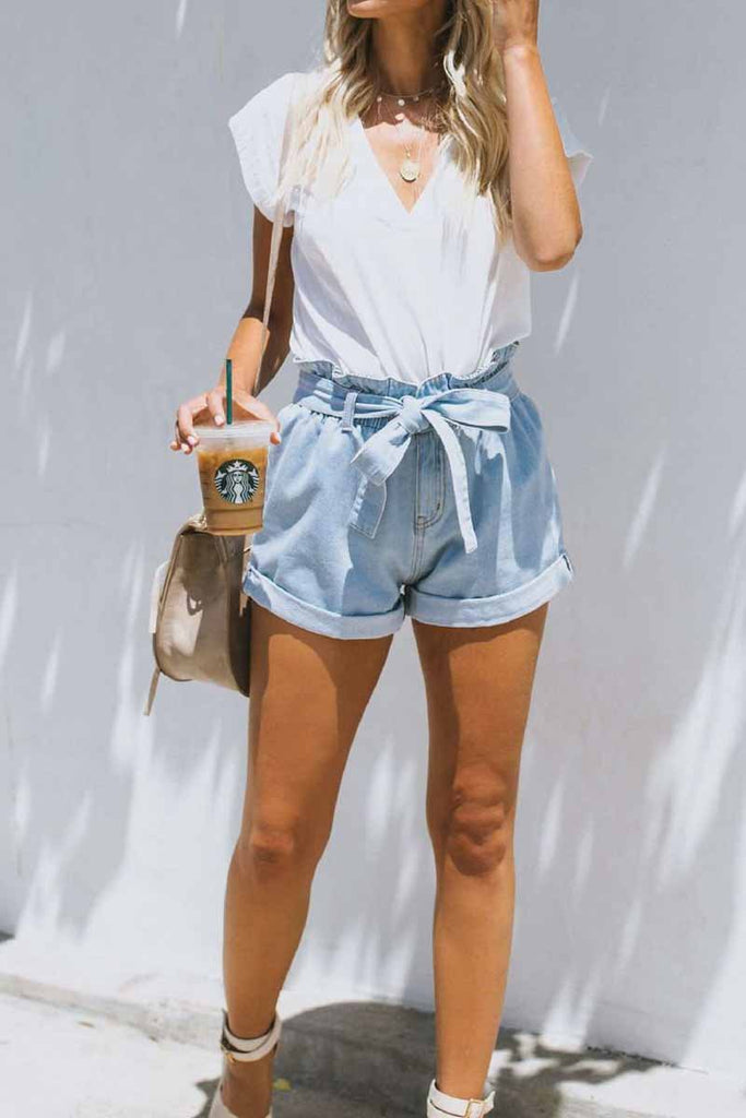 Chicindress Summer Women's Belt Lace Denim Shorts