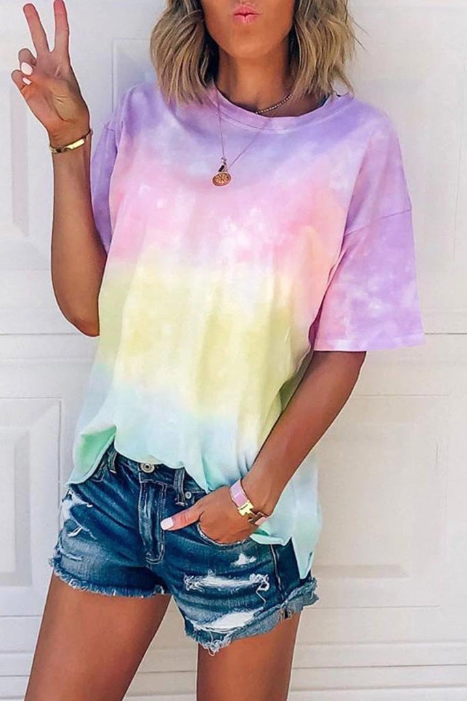 Chicindress O Neck Tie-dye Multicolor T-shirt