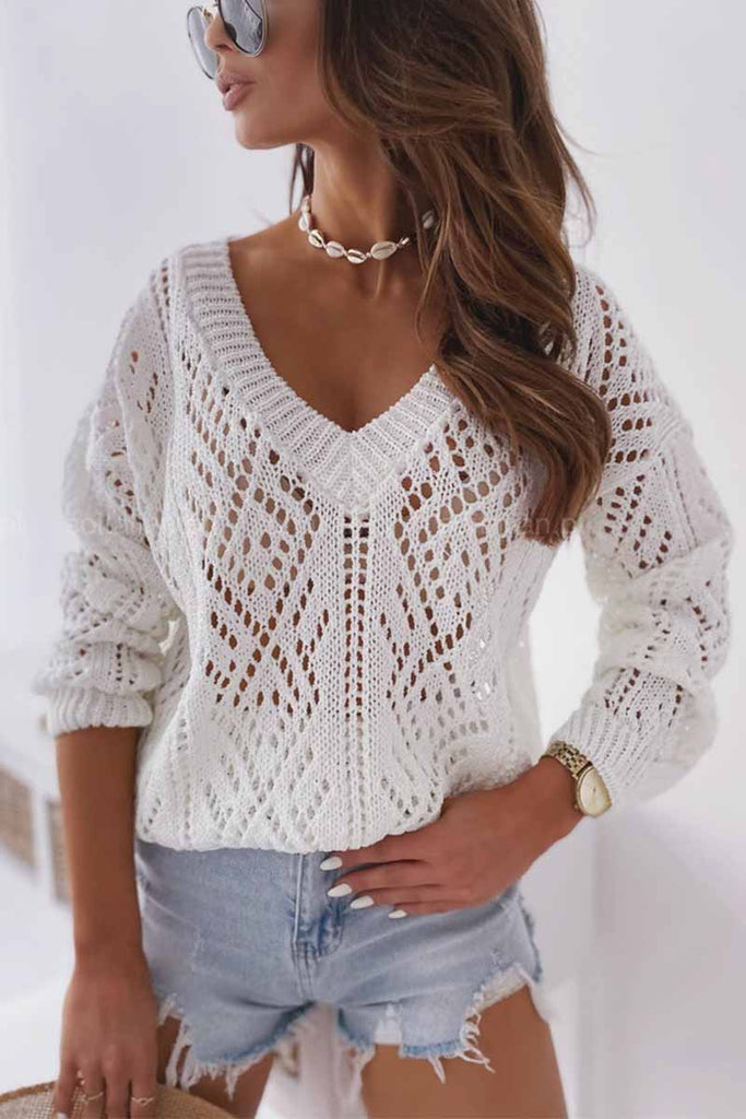 Chicindress Commuter Fashion V-Neck Pattern Hollow knit Sweater
