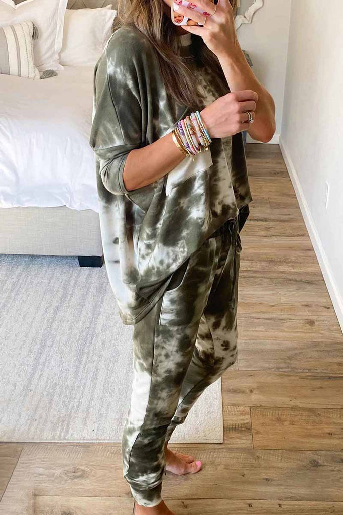 Chicindress Dark Tie Dye Comfortable Casual Set