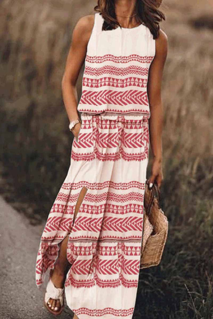 Chicindress Printed Striped Maxi Dress With Pocket