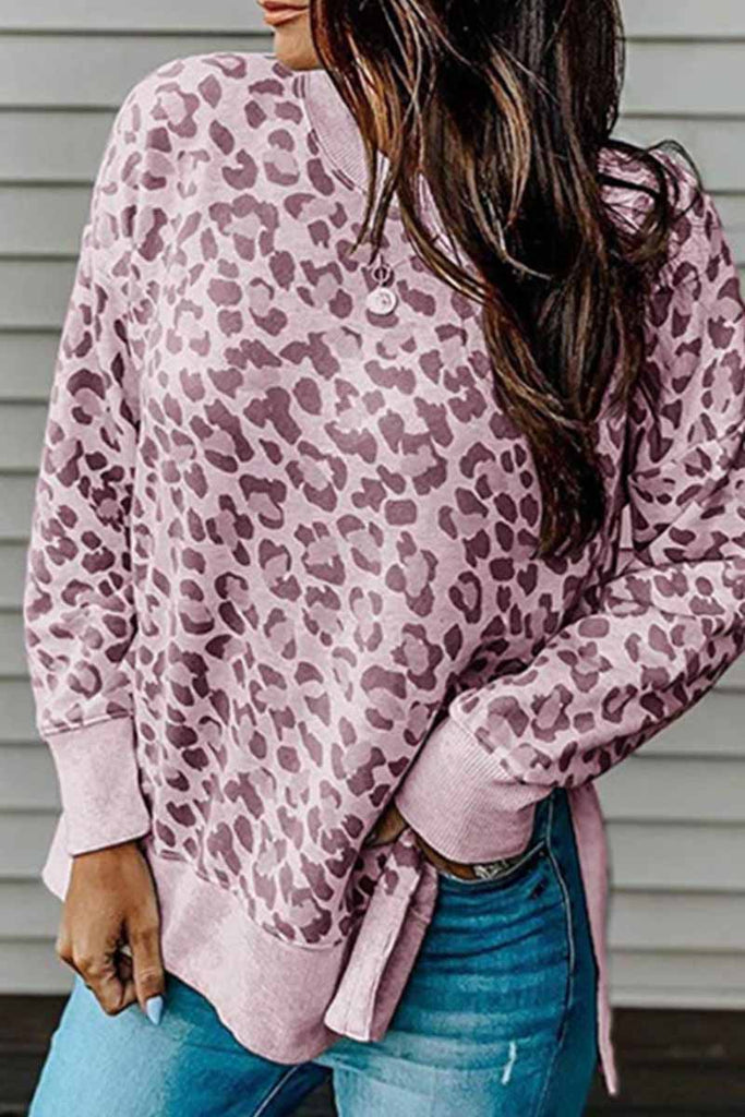 Chicindress Leopard Print Irregular Contrast Top