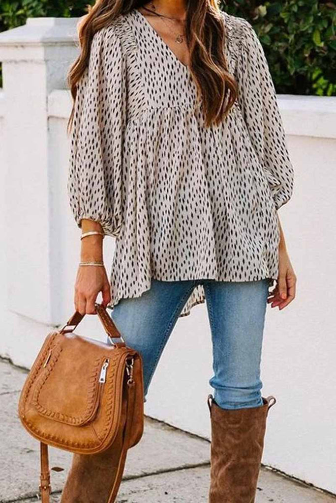 Chicindress Loose And Simple V-Neck Floral Tops