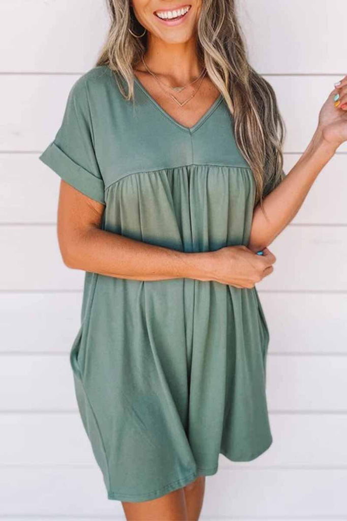 Chicindress V-neck Solid Color Loose Mini Dress