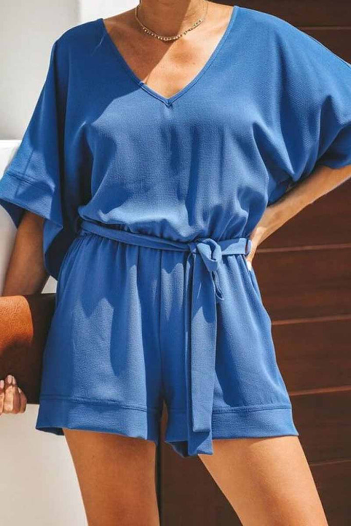 Chicindress solid short sleeve tops Rompers