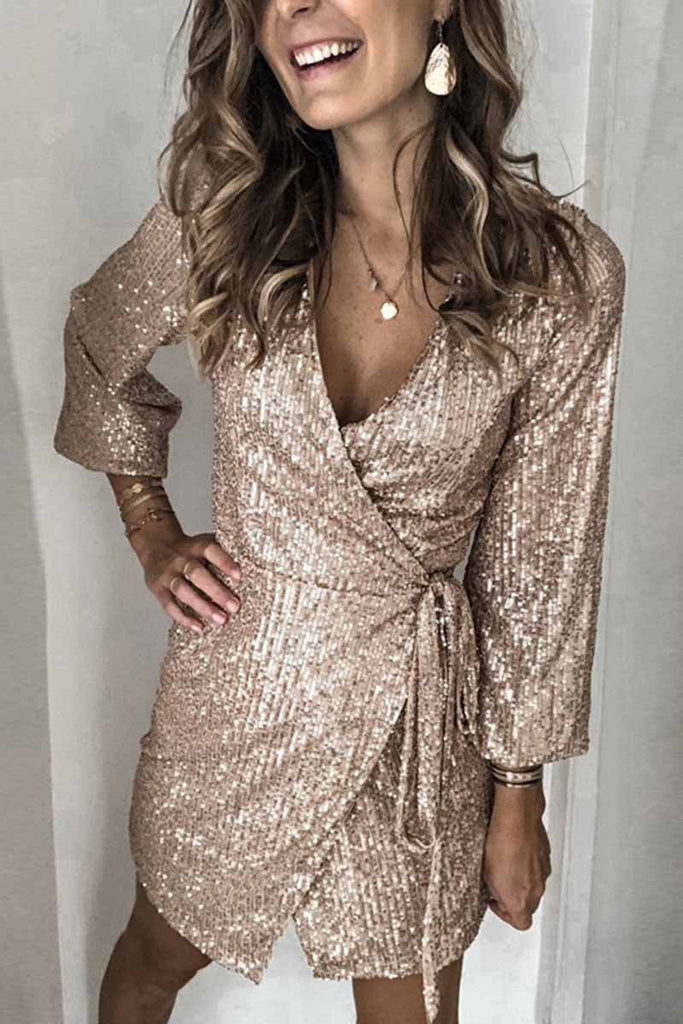Chicindress Long Sleeve Sequined Gown Dress