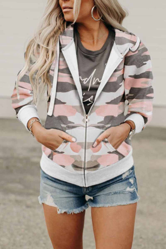 Chicindress Printed Camouflage Hooded Jacket