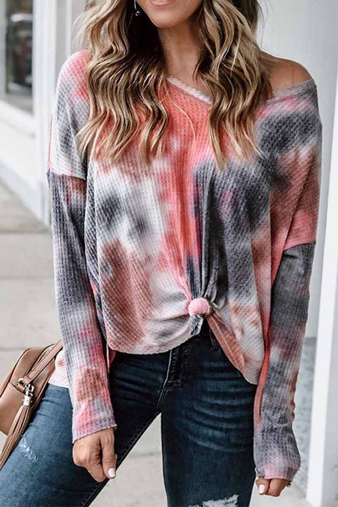 Chicindress  V-Neck Tie-dye Long Sleeve Top
