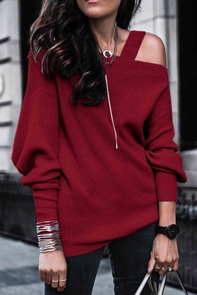 Chicindress Solid Color Leaky Shoulder Knit Top