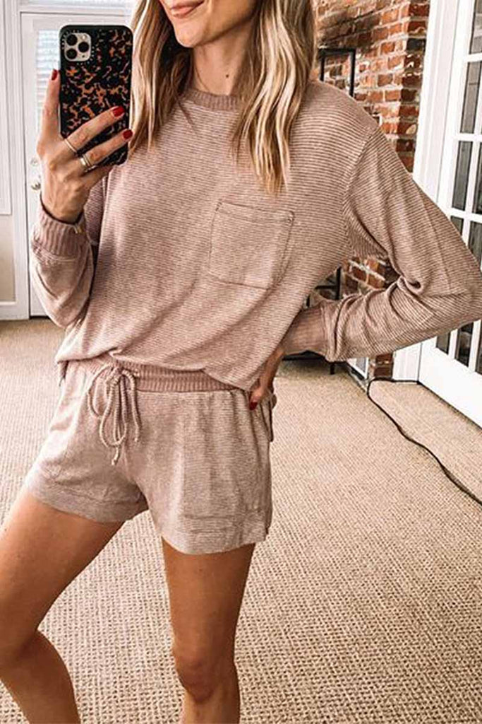 Chicindress Two-Piece Solid Color Long-Sleeved Loose Casual Home Wear